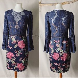 NWOT TADASHI SHOJI Dorothy Floral & Lace Dress